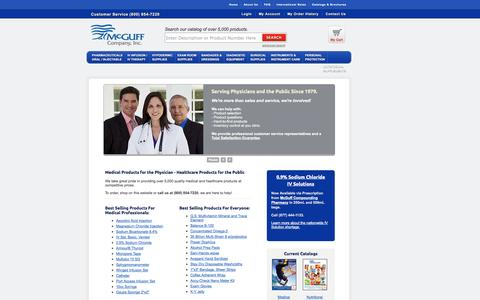 Screenshot of Home Page mcguffmedical.com - McGuff Medical Products - Pharmaceuticals, Medical Devices, Physician Supplies - captured Oct. 6, 2014
