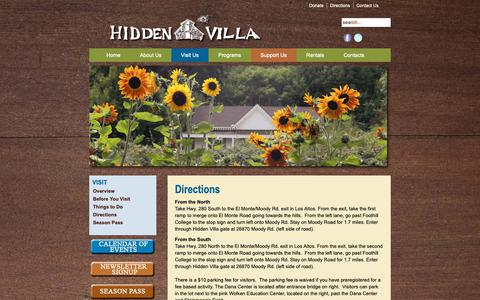 Screenshot of Maps & Directions Page hiddenvilla.org - Directions - captured Sept. 28, 2018