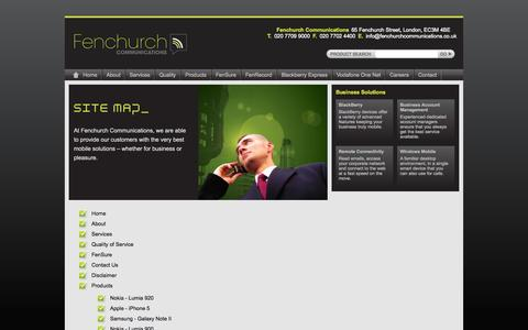Screenshot of Site Map Page fenchurchcommunications.co.uk - Fenchurch Communications - captured Sept. 30, 2014