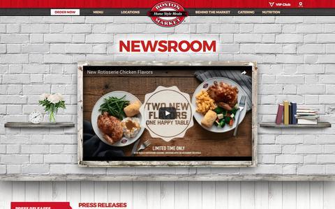 Screenshot of Press Page bostonmarket.com - News Room | Boston Market - captured June 2, 2017