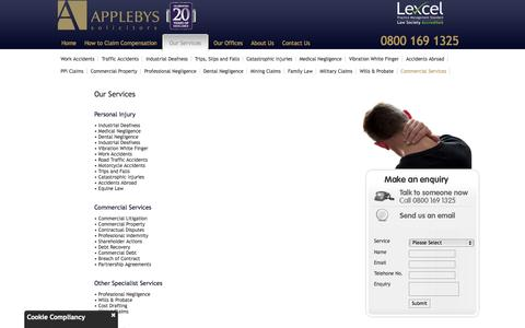 Screenshot of Services Page applebys-law.co.uk - Applebys - Our Services - captured Oct. 4, 2014