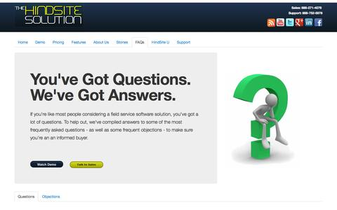 Screenshot of FAQ Page hindsitesoftware.com - Field Service Software Frequently Asked Questions | HindSite Software - captured Sept. 24, 2014