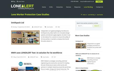 Screenshot of Case Studies Page lonealert.co.uk - Lone Worker Protection Case Studies from LoneALERT - captured July 23, 2018