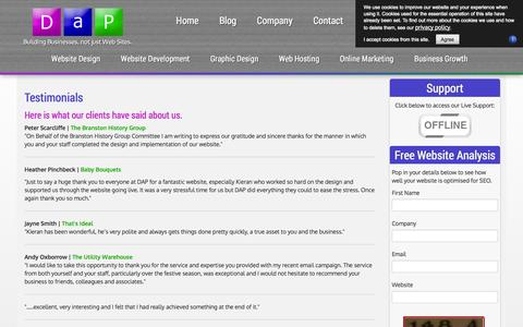 Screenshot of Testimonials Page developandpromote.co.uk - Website Design from an award-winning company like Develop and Promote will ensure your SEO rankings are high for your E Commerce and CMS websites - captured Oct. 5, 2014