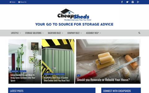 Screenshot of Blog cheapsheds.com.au - Homepage - Cheap Sheds Blog - captured Sept. 27, 2018