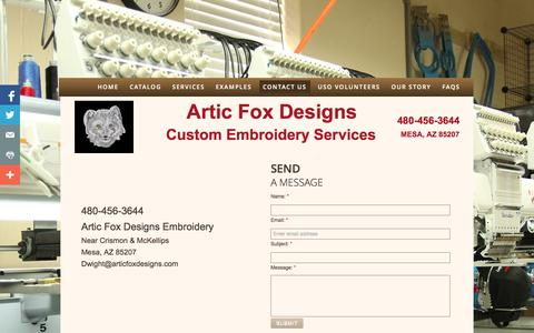 Screenshot of Privacy Page Contact Page articfoxdesigns.com - Contact Us - captured Oct. 23, 2014