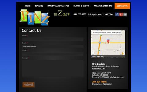 Screenshot of Contact Page pinz.com - Contact Us @ PINZ - captured Jan. 23, 2016