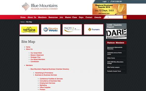 Screenshot of Site Map Page bmchamber.org.au - Site Map - - captured Oct. 21, 2018