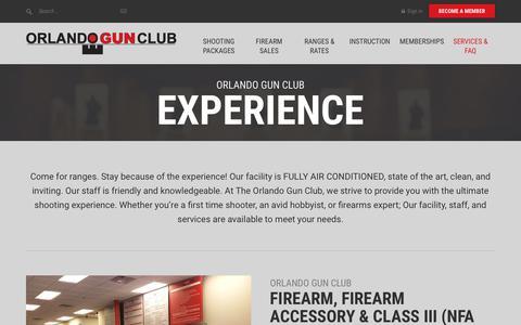 Screenshot of Services Page orlandogunclub.com - Gun Club and Firing Range Services - Central Florida - captured Oct. 20, 2018