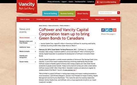 Screenshot of Press Page vancity.com - CoPower and Vancity Capital Corporation team up to bring Green Bonds to Canadians - Vancity - captured Nov. 22, 2017
