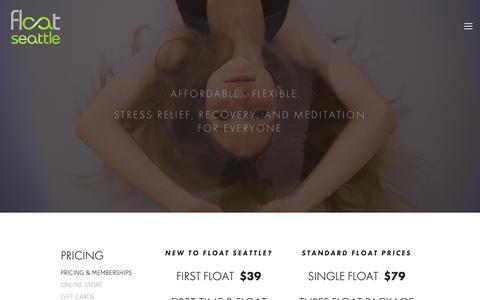 Screenshot of Pricing Page floatseattle.com - PRICING & MEMBERSHIPS — Float Seattle - captured Nov. 6, 2018