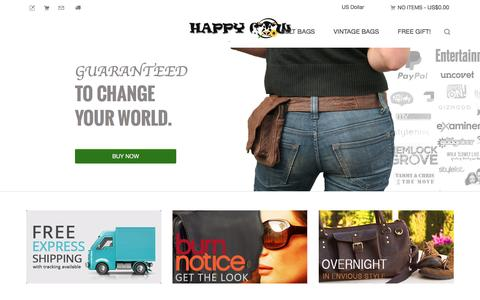 Screenshot of Home Page happycow.com.au - Buy Leather Pouch Bags, Belt Bags, Travel Packs, Leather Bags and Waist Packs Online - captured June 15, 2016