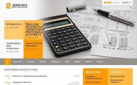 Screenshot of Home Page addenda.ee - koolitus, täienduskoolitus, Addenda, projekt, koolitusfirma,  - Addenda - captured Feb. 5, 2016