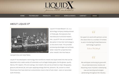 Screenshot of About Page liquid-x.com - About Liquid X® - Liquid X Printed Metals, Inc. - captured Jan. 30, 2016