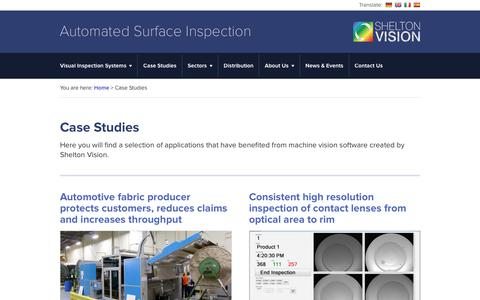 Screenshot of Case Studies Page sheltonvision.co.uk - Case Studies | Industry wide machine vision software - captured Oct. 26, 2017