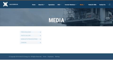 Screenshot of Press Page vaalco.com - Media - VAALCO - captured Sept. 20, 2018
