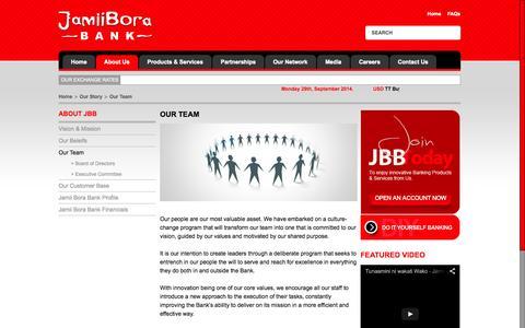 Screenshot of Team Page jamiiborabank.co.ke - Our Team | Jamii Bora Bank - captured Sept. 30, 2014
