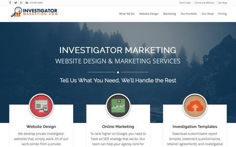 Screenshot of Home Page investigatormarketing.com - Investigator Marketing - Website Design & Marketing Strategies - captured Jan. 1, 2017