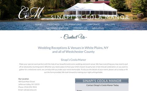 Screenshot of Contact Page ceola.com - Sinapi's Ceola Manor | Jefferson Valley, NY | Contact - captured Feb. 4, 2016