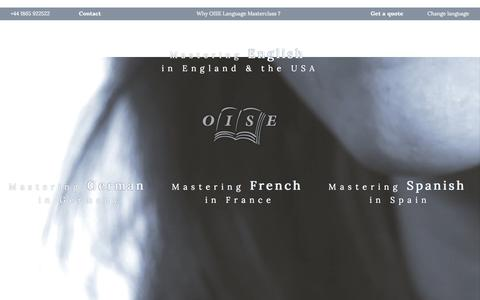 Screenshot of Home Page oise.com - Mastering English in England & the US   Mastering German in Germany   Mastering French in France   Mastering Spanish in Spain :: OISE Language             Masterclass - captured Feb. 5, 2016