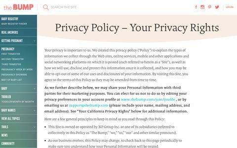 Screenshot of Privacy Page thebump.com - TheBump.com - Pregnancy, Parenting and Baby Information - captured Sept. 21, 2018