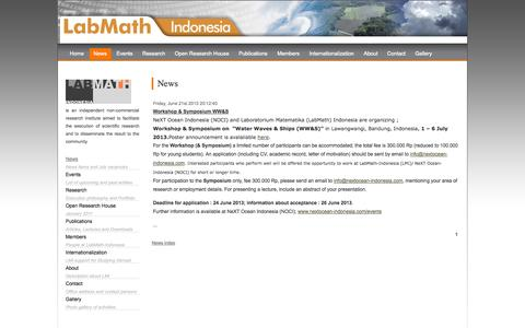 Screenshot of Press Page labmath-indonesia.org - Labmath-Indonesia [Laboratorium Matematika Indonesia] | News - captured Oct. 1, 2014
