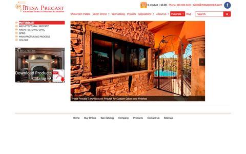 Screenshot of Products Page mesaprecast.com - Materials | Mesa Precast - captured Feb. 13, 2016