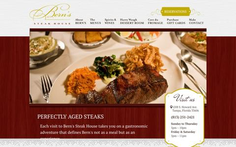 Screenshot of Home Page bernssteakhouse.com - Bern's Steak House is a unique culinary experience - captured Sept. 19, 2014