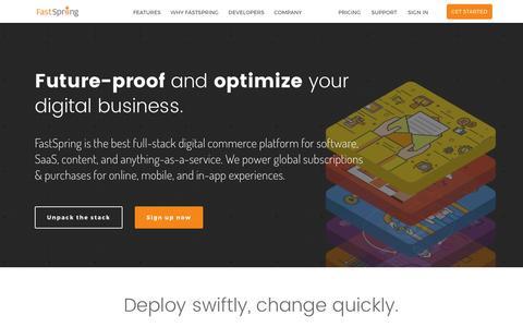 Screenshot of Home Page fastspring.com - FastSpring | Digital Commerce Platform for Software and SaaS - captured April 18, 2017