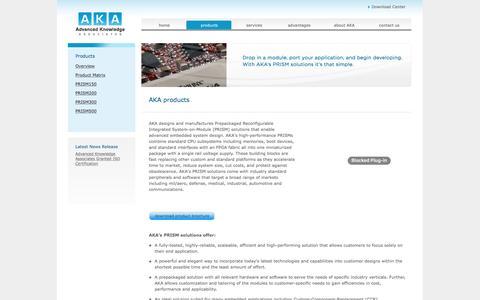 Screenshot of Products Page a-k-a.net - AKA : Advanced Knowledge Associates - captured Nov. 20, 2016