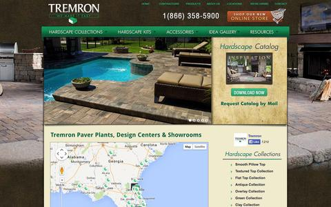 Screenshot of Locations Page tremron.com - Tremron Paver Plants, Design Centers and Contractor Showrooms | Tremron Jacksonville Pavers, Retaining Walls, Fire Pits | Atlanta, Miami, Orlando, Tampa, Florida Paver Manufacturer - captured Sept. 23, 2014