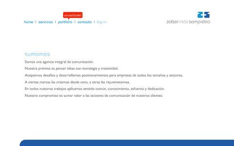 Screenshot of Home Page zottersampietro.com.ar - Z+S - captured Sept. 30, 2014