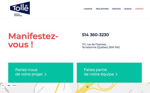 Screenshot of Contact Page xn--toll-epa.marketing - Contact - Tollé Agence Marketing - captured Aug. 8, 2018