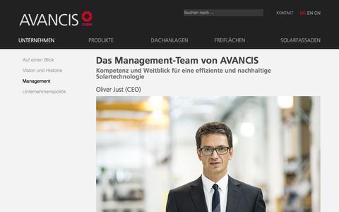 Screenshot of Team Page avancis.de - Kompetenz in CIS-Photovoltaik, Management-Team - Avancis - captured July 31, 2018