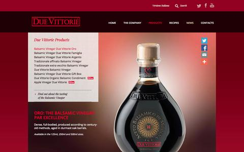 Screenshot of Products Page duevittorie.com - Aceto Balsamico Due Vittorie » ORO: the balsamic vinegar par excellence - captured Sept. 30, 2014