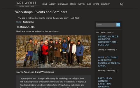 Screenshot of Testimonials Page artwolfe.com - Testimonials - Art Wolfe Events - captured Jan. 23, 2016