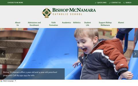 Screenshot of Home Page bishopmac.com - Home - Bishop McNamara Catholic School - captured Oct. 5, 2018