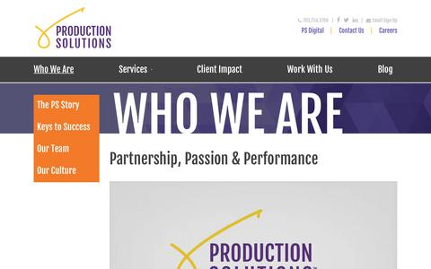 Screenshot of Team Page productionsolutions.com - About PS » Production Solutions - captured July 23, 2018