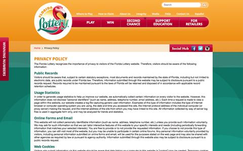 Screenshot of Privacy Page flalottery.com - Florida Lottery - Privacy Policy - captured Oct. 29, 2014