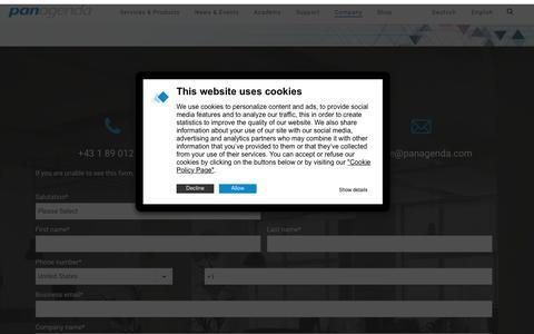 Screenshot of Contact Page panagenda.com - Contact - panagenda - captured Jan. 12, 2020