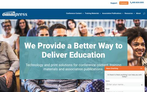 Screenshot of Home Page omnipress.com - Omnipress | We Provide a Better Way to Deliver Education - captured Aug. 12, 2019