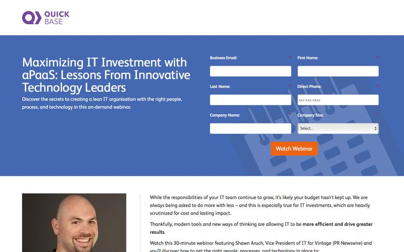 Maximizing IT Investment with aPaaS: Lessons From Innovative Technology Leaders Webinar   QuickBase