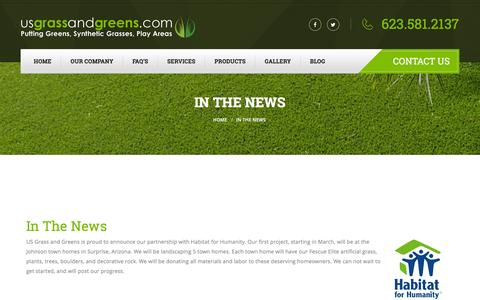 Screenshot of Press Page usgrassandgreens.com - In The News - US Grass and Greens - captured July 20, 2016