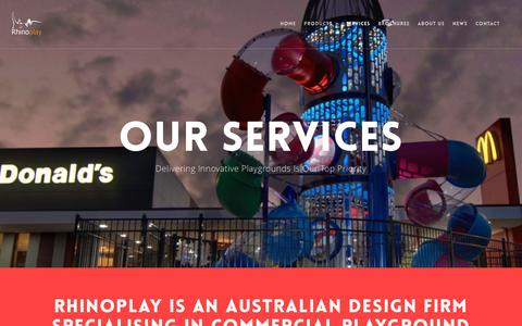 Screenshot of Services Page rhinoplay.com.au - Our Services – Planning | Design | Manufacturing | Delivery | Installation - captured Sept. 28, 2016
