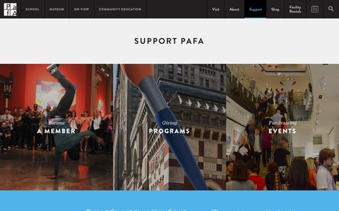 Screenshot of Support Page pafa.org - Support PAFA | PAFA - Pennsylvania Academy of the Fine Arts - captured Jan. 18, 2016