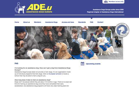 Screenshot of FAQ Page assistancedogseurope.org - FAQ - ADE - captured Oct. 9, 2017
