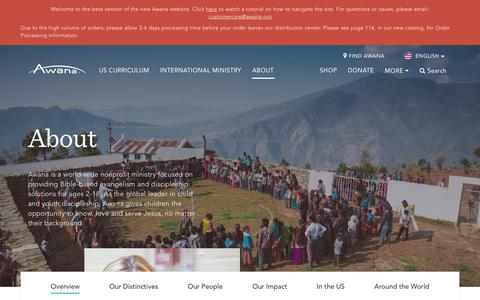 Screenshot of About Page awana.org - About - Awana - captured July 31, 2018