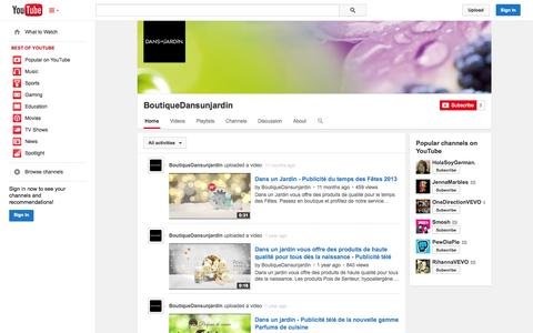 Screenshot of YouTube Page youtube.com - BoutiqueDansunjardin  - YouTube - captured Oct. 22, 2014