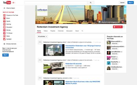 Screenshot of YouTube Page youtube.com - Rotterdam Investment Agency  - YouTube - captured Oct. 29, 2014
