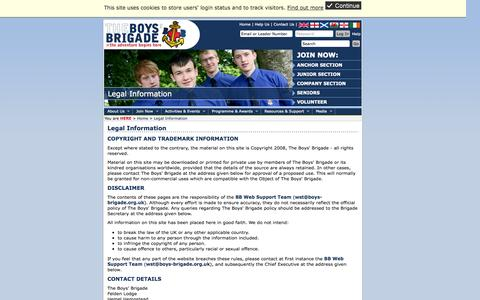 Screenshot of Terms Page boys-brigade.org.uk - Legal Information (The Boys' Brigade) - brigade boys information site registered address copyright contact wstboysbrigadeorguk person - captured Oct. 7, 2014
